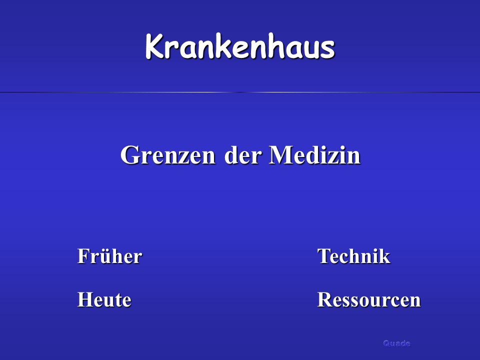 Krankenhaus Grenzen der Medizin FrüherTechnik HeuteRessourcen
