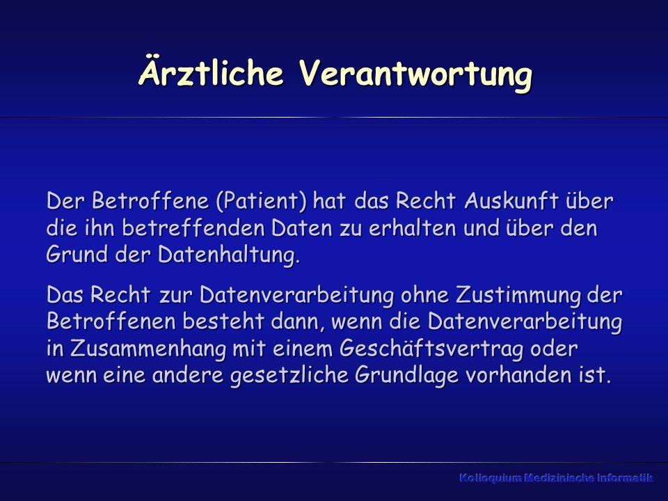 Ärztliche Verantwortung Der Betroffene (Patient) hat das Recht Auskunft über die ihn betreffenden Daten zu erhalten und über den Grund der Datenhaltun