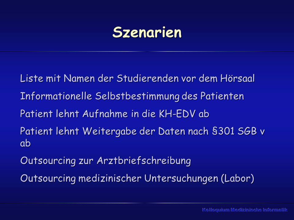 Szenarien Liste mit Namen der Studierenden vor dem Hörsaal Informationelle Selbstbestimmung des Patienten Patient lehnt Aufnahme in die KH-EDV ab Pati