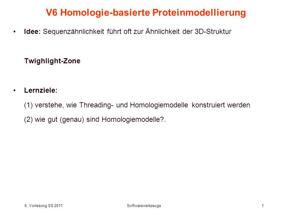 6. Vorlesung SS 2011Softwarewerkzeuge1 V6 Homologie-basierte Proteinmodellierung Idee: Sequenzähnlichkeit führt oft zur Ähnlichkeit der 3D-Struktur Tw
