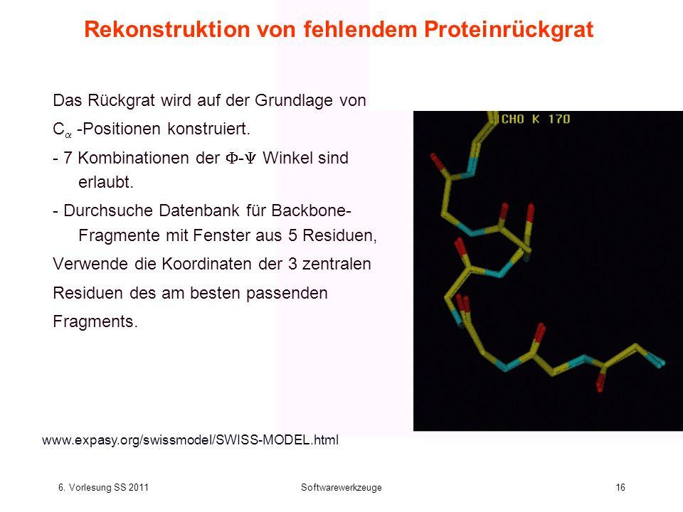 6. Vorlesung SS 2011Softwarewerkzeuge16 Rekonstruktion von fehlendem Proteinrückgrat Das Rückgrat wird auf der Grundlage von C -Positionen konstruiert