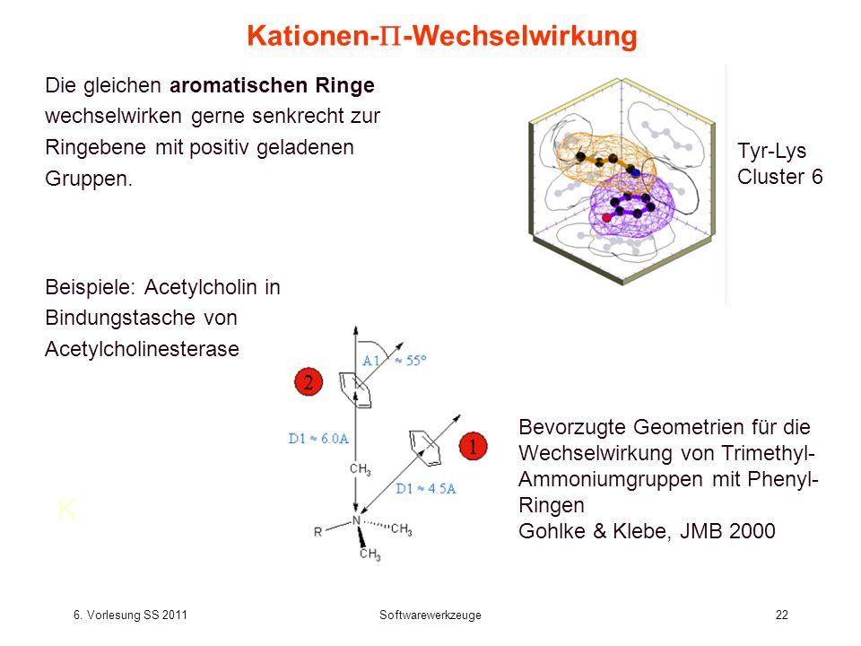 6. Vorlesung SS 2011Softwarewerkzeuge22 Kationen- -Wechselwirkung Die gleichen aromatischen Ringe wechselwirken gerne senkrecht zur Ringebene mit posi