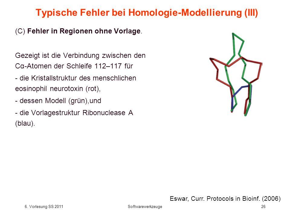 6. Vorlesung SS 2011Softwarewerkzeuge26 Typische Fehler bei Homologie-Modellierung (III) (C) Fehler in Regionen ohne Vorlage. Gezeigt ist die Verbindu