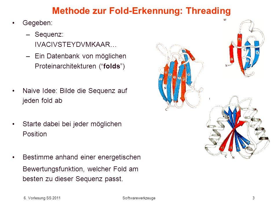 6. Vorlesung SS 2011Softwarewerkzeuge3 Methode zur Fold-Erkennung: Threading Gegeben: –Sequenz: IVACIVSTEYDVMKAAR… –Ein Datenbank von möglichen Protei