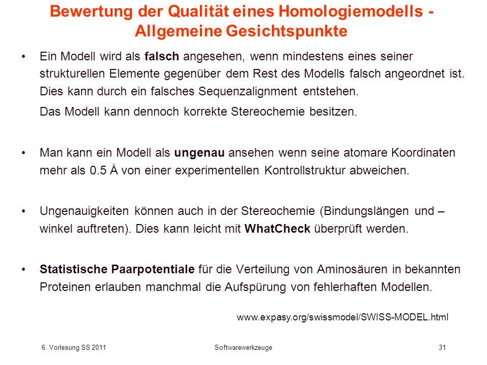 6. Vorlesung SS 2011Softwarewerkzeuge31 Bewertung der Qualität eines Homologiemodells - Allgemeine Gesichtspunkte Ein Modell wird als falsch angesehen