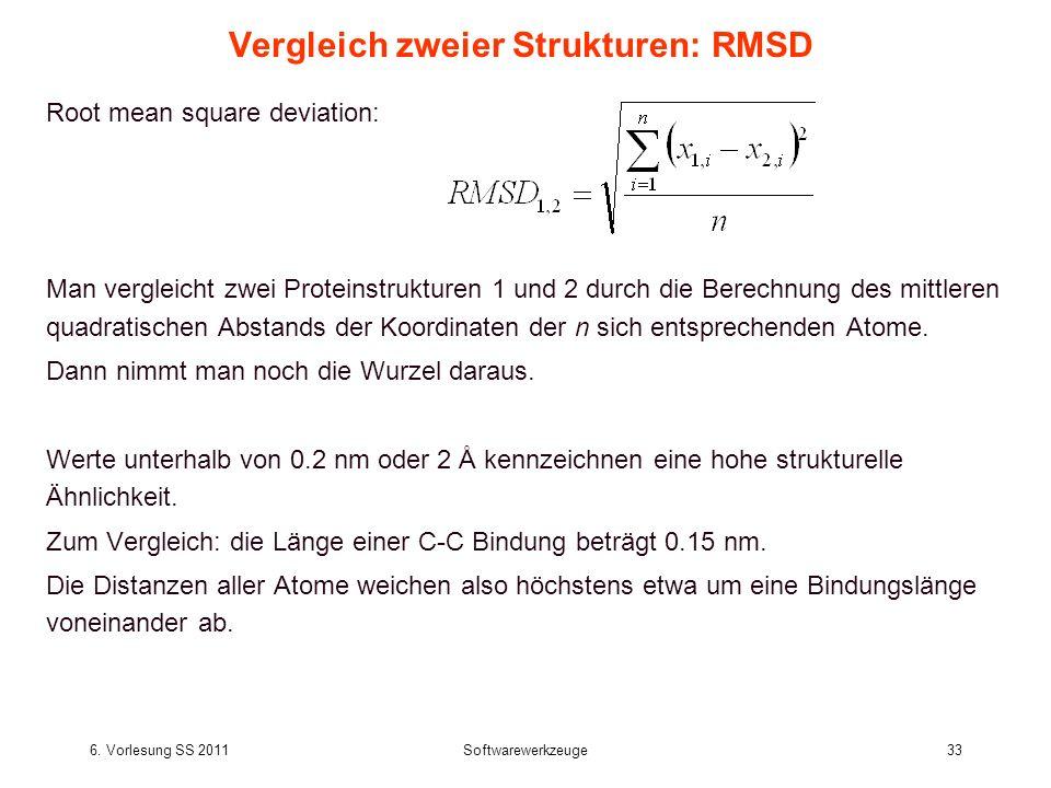 6. Vorlesung SS 2011Softwarewerkzeuge33 Vergleich zweier Strukturen: RMSD Root mean square deviation: Man vergleicht zwei Proteinstrukturen 1 und 2 du
