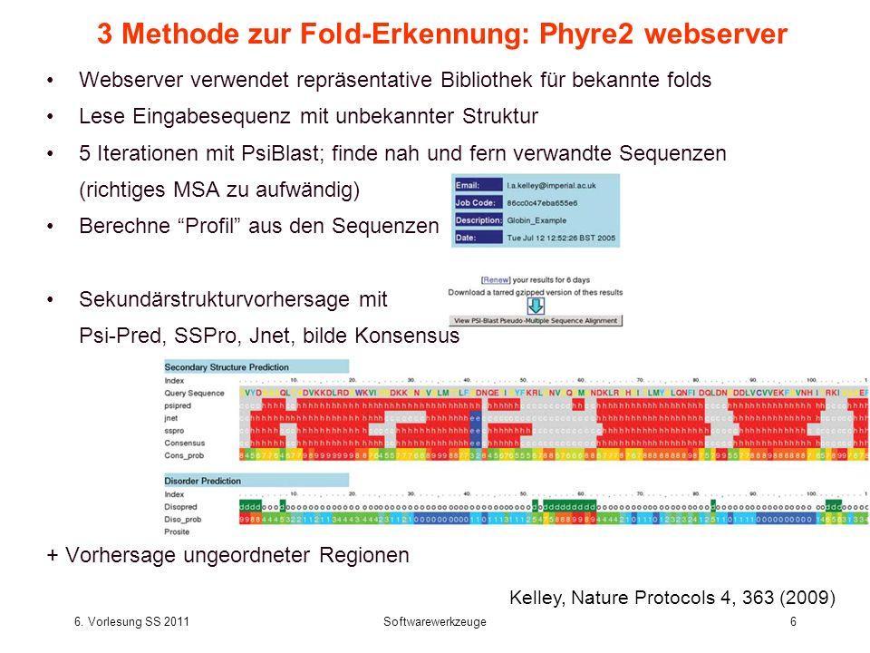 6. Vorlesung SS 2011Softwarewerkzeuge6 3 Methode zur Fold-Erkennung: Phyre2 webserver Webserver verwendet repräsentative Bibliothek für bekannte folds