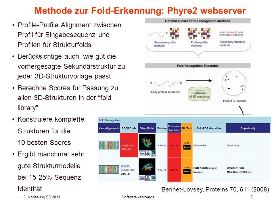 6. Vorlesung SS 2011Softwarewerkzeuge7 Methode zur Fold-Erkennung: Phyre2 webserver Profile-Profile Alignment zwischen Profil für Eingabesequenz und P