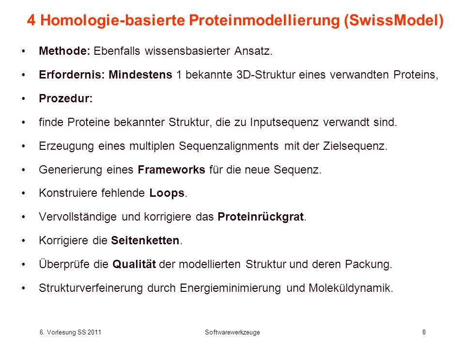 6. Vorlesung SS 2011Softwarewerkzeuge8 4 Homologie-basierte Proteinmodellierung (SwissModel) Methode: Ebenfalls wissensbasierter Ansatz. Erfordernis: