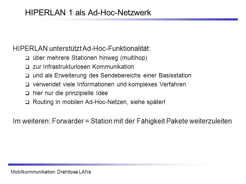 Mobilkommunikation: Drahtlose LANs HIPERLAN 1 als Ad-Hoc-Netzwerk HIPERLAN unterstützt Ad-Hoc-Funktionalität: über mehrere Stationen hinweg (multihop)