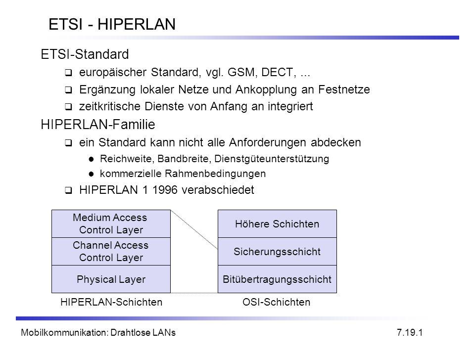 Mobilkommunikation: Drahtlose LANs ETSI - HIPERLAN ETSI-Standard europäischer Standard, vgl. GSM, DECT,... Ergänzung lokaler Netze und Ankopplung an F