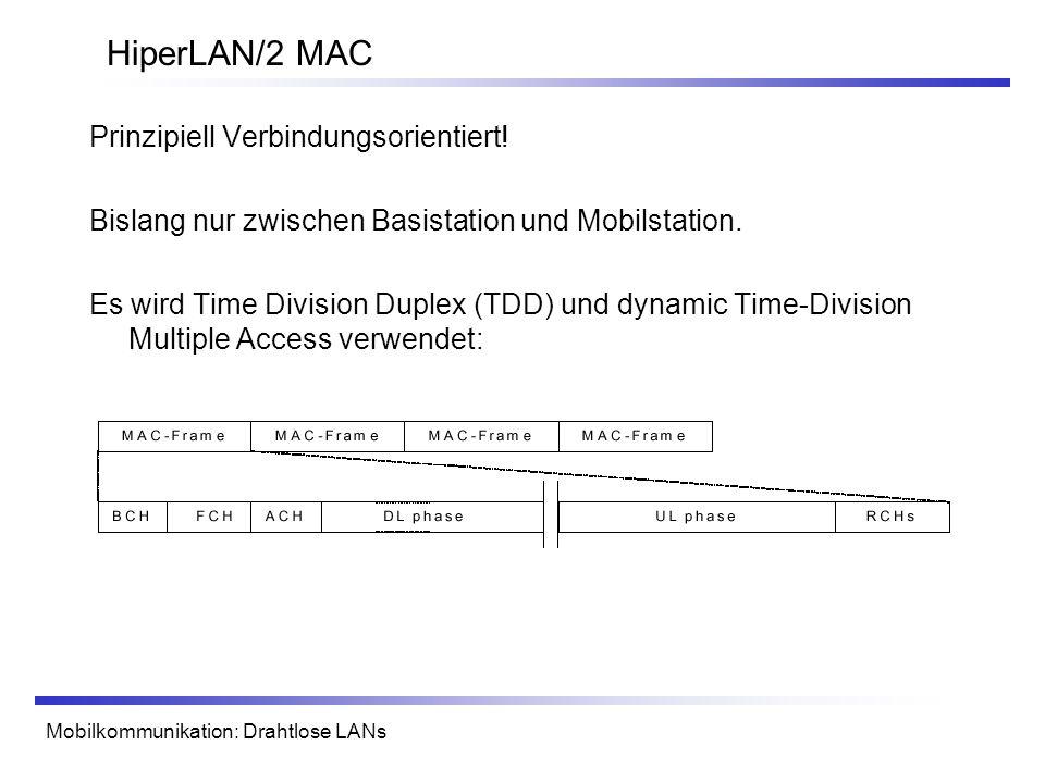 Mobilkommunikation: Drahtlose LANs HiperLAN/2 MAC Prinzipiell Verbindungsorientiert! Bislang nur zwischen Basistation und Mobilstation. Es wird Time D