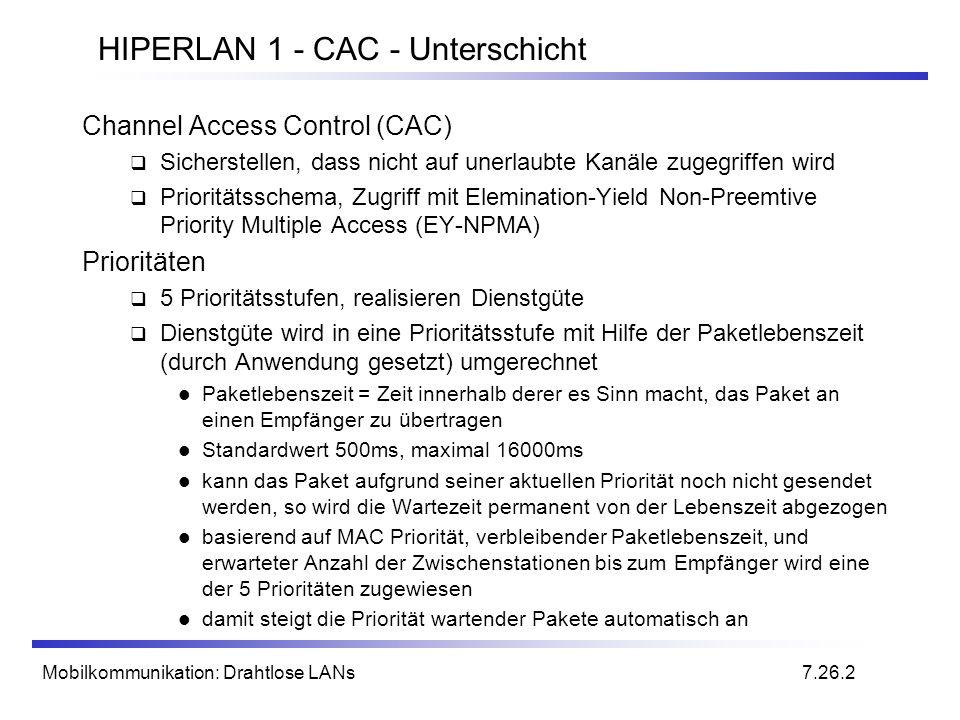 Mobilkommunikation: Drahtlose LANs HIPERLAN 1 - CAC - Unterschicht Channel Access Control (CAC) Sicherstellen, dass nicht auf unerlaubte Kanäle zugegr
