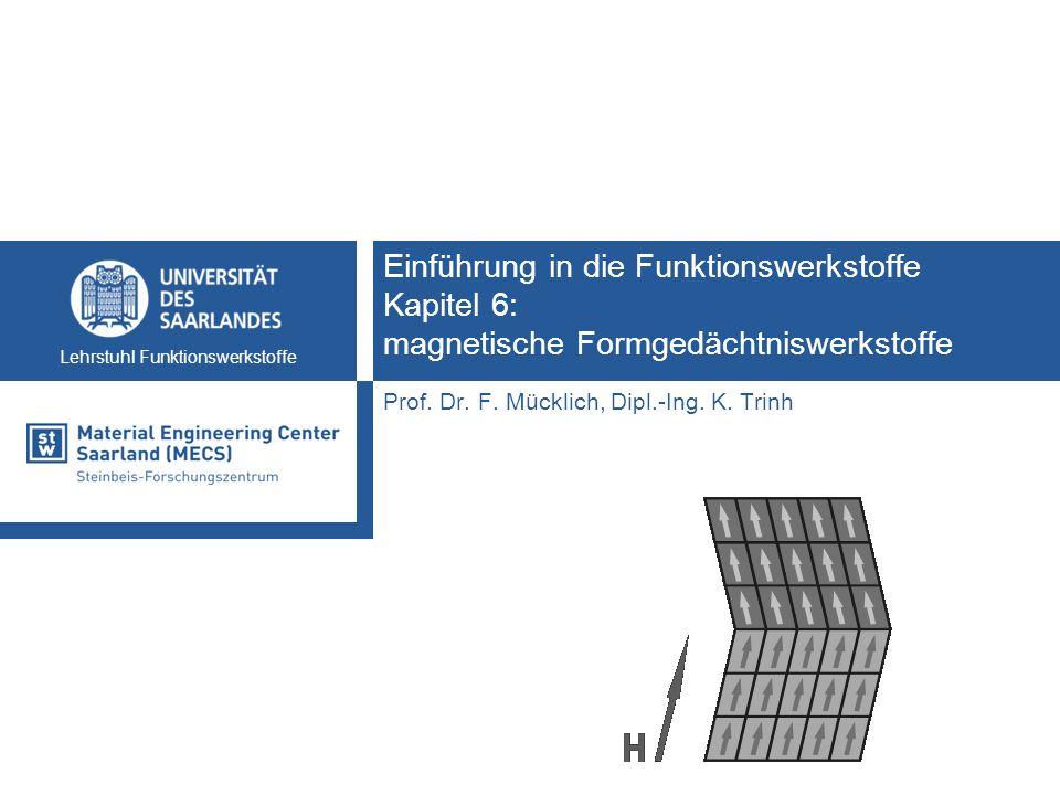 Lehrstuhl Funktionswerkstoffe Einführung in die Funktionswerkstoffe Kapitel 6: magnetische Formgedächtniswerkstoffe Prof. Dr. F. Mücklich, Dipl.-Ing.