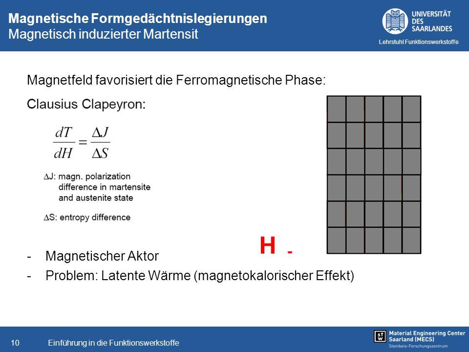 Einführung in die Funktionswerkstoffe10 Lehrstuhl Funktionswerkstoffe Magnetische Formgedächtnislegierungen Magnetisch induzierter Martensit Magnetfel
