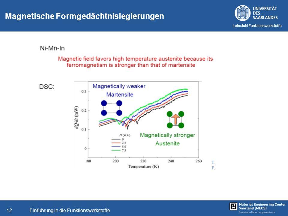 Einführung in die Funktionswerkstoffe12 Lehrstuhl Funktionswerkstoffe Magnetische Formgedächtnislegierungen