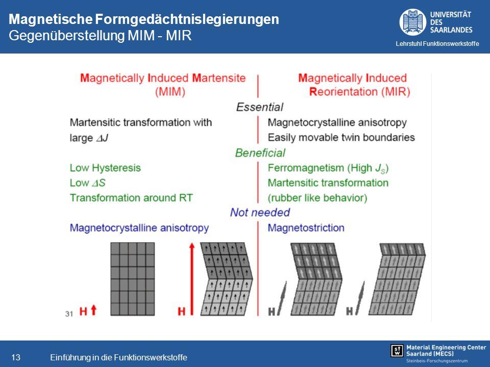 Einführung in die Funktionswerkstoffe13 Lehrstuhl Funktionswerkstoffe Magnetische Formgedächtnislegierungen Gegenüberstellung MIM - MIR