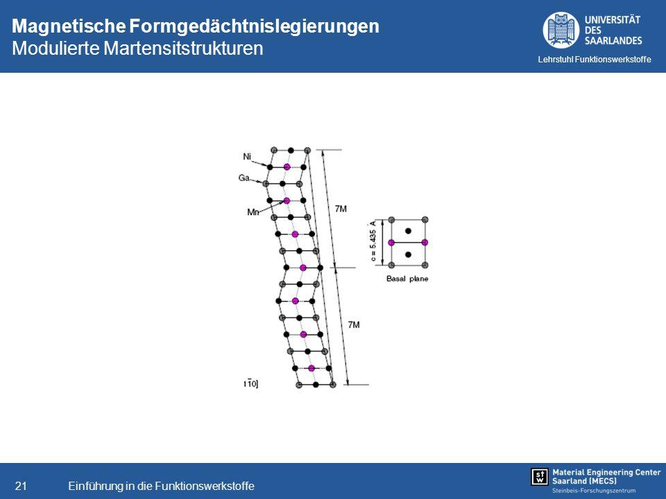 Einführung in die Funktionswerkstoffe21 Lehrstuhl Funktionswerkstoffe Magnetische Formgedächtnislegierungen Modulierte Martensitstrukturen