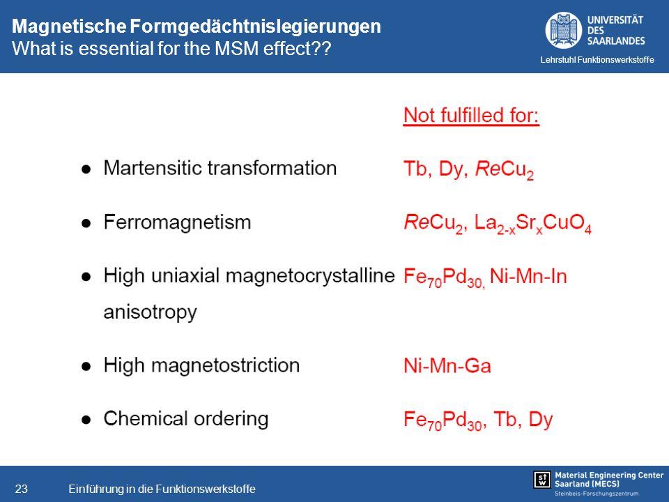 Einführung in die Funktionswerkstoffe23 Lehrstuhl Funktionswerkstoffe Magnetische Formgedächtnislegierungen What is essential for the MSM effect??