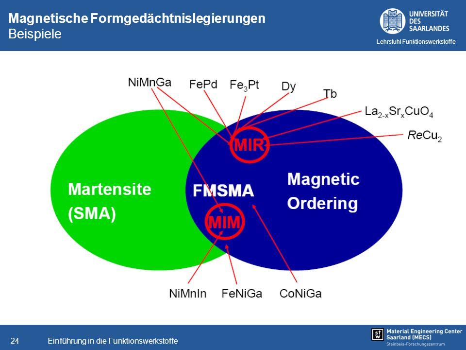 Einführung in die Funktionswerkstoffe24 Lehrstuhl Funktionswerkstoffe Magnetische Formgedächtnislegierungen Beispiele
