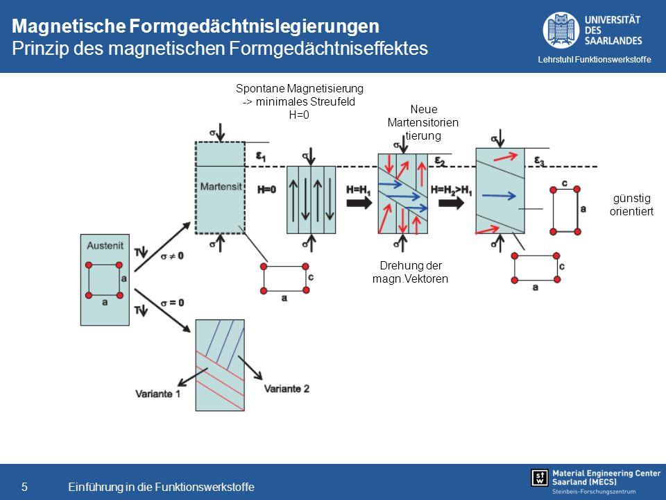 Einführung in die Funktionswerkstoffe5 Lehrstuhl Funktionswerkstoffe Magnetische Formgedächtnislegierungen Prinzip des magnetischen Formgedächtniseffe