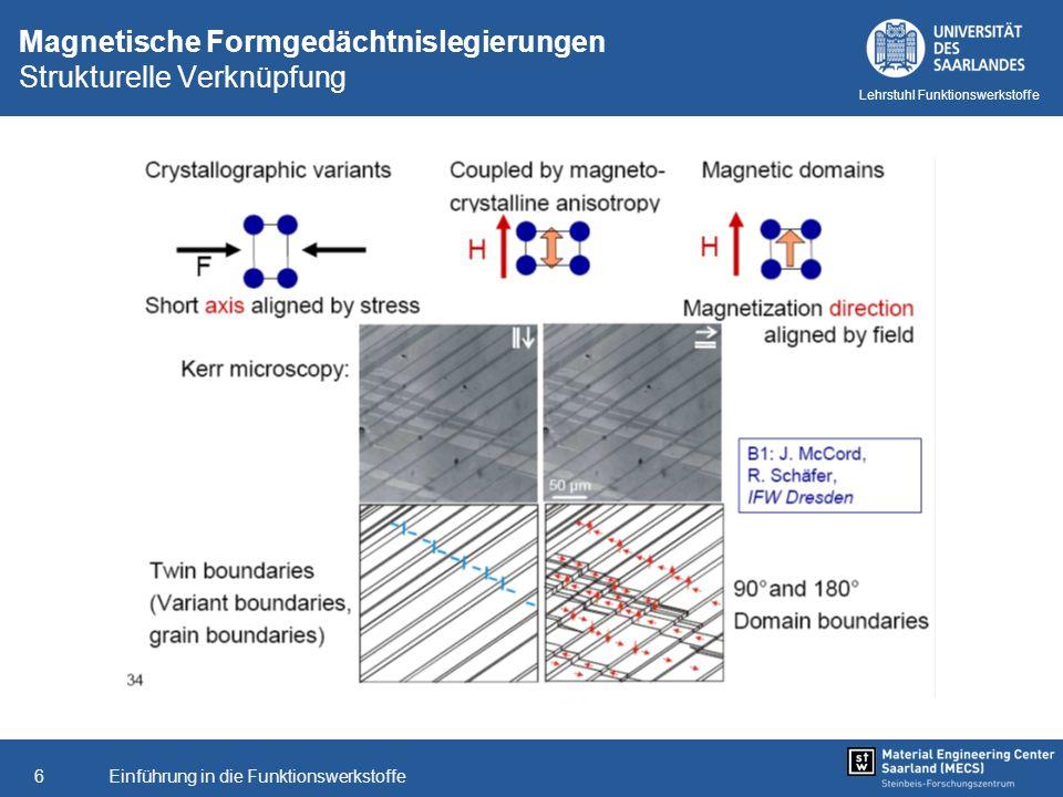 Einführung in die Funktionswerkstoffe6 Lehrstuhl Funktionswerkstoffe Magnetische Formgedächtnislegierungen Strukturelle Verknüpfung