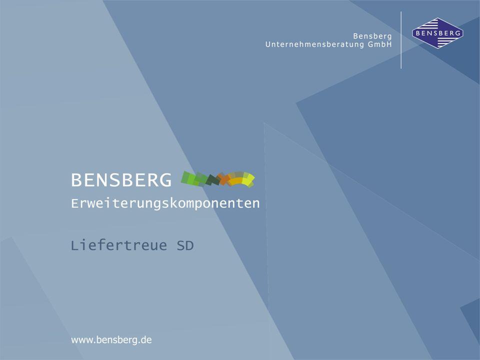 Bensberg GmbHLiefertreue SD Übersicht Bewertung Rück- stand Sonder- Bewertung Konsig- nation (EDL) nach Zeit/Menge in Prozent und mit VDA-Kennzahlen Liefertreue + Servicegrad Liefer- Positionen Datenpool mit Basisdaten und Bewertungsergebnissen Analysen: -Menügesteuert -Hyperlinks -Filter, Download, Profil, etc.