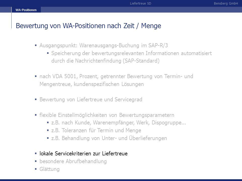 Bensberg GmbHLiefertreue SD Bewertung von WA-Positionen nach Zeit / Menge Ausgangspunkt: Warenausgangs-Buchung im SAP-R/3 Speicherung der bewertungsre