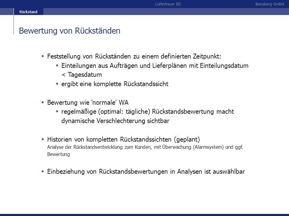 Bensberg GmbHLiefertreue SD Bewertung von Rückständen Feststellung von Rückständen zu einem definierten Zeitpunkt: Einteilungen aus Aufträgen und Lief