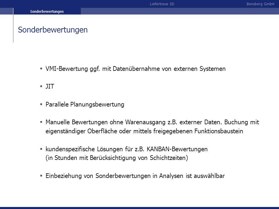 Bensberg GmbHLiefertreue SD Sonderbewertungen VMI-Bewertung ggf. mit Datenübernahme von externen Systemen JIT Parallele Planungsbewertung Manuelle Bew