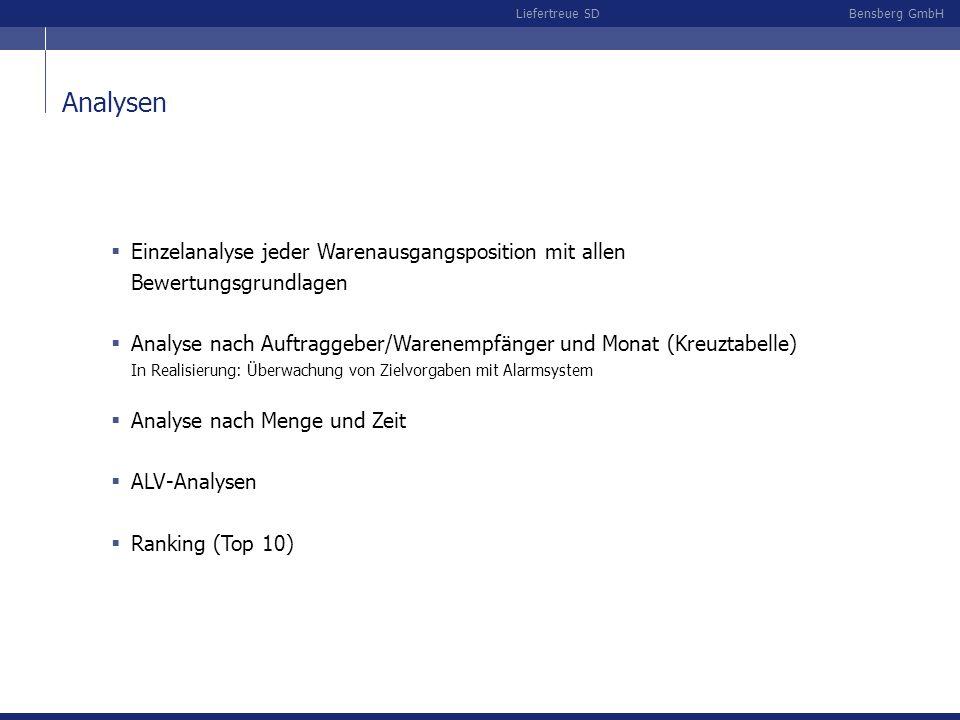 Bensberg GmbHLiefertreue SD Analysen Einzelanalyse jeder Warenausgangsposition mit allen Bewertungsgrundlagen Analyse nach Auftraggeber/Warenempfänger und Monat (Kreuztabelle) In Realisierung: Überwachung von Zielvorgaben mit Alarmsystem Analyse nach Menge und Zeit ALV-Analysen Ranking (Top 10)