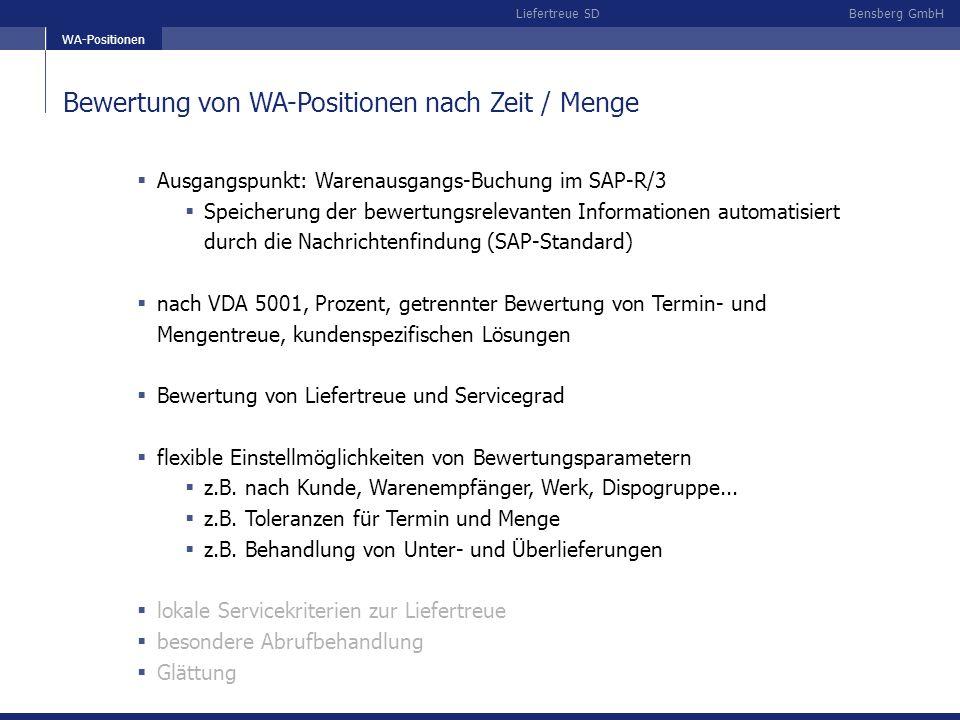Bensberg GmbHLiefertreue SD Analyse nach Mengen und Zeit Zielsetzung: Darstellung von Mengen- und Zeitabweichungen Über-/Unterlieferungen entweder in % oder in Mengeneinheiten Mengen, ab denen farbig unterlegt wird (gelb, rot)