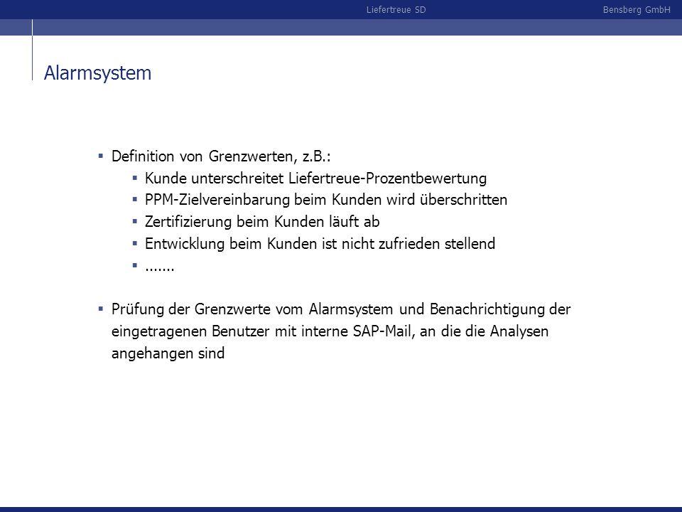 Bensberg GmbHLiefertreue SD Alarmsystem Definition von Grenzwerten, z.B.: Kunde unterschreitet Liefertreue-Prozentbewertung PPM-Zielvereinbarung beim Kunden wird überschritten Zertifizierung beim Kunden läuft ab Entwicklung beim Kunden ist nicht zufrieden stellend.......