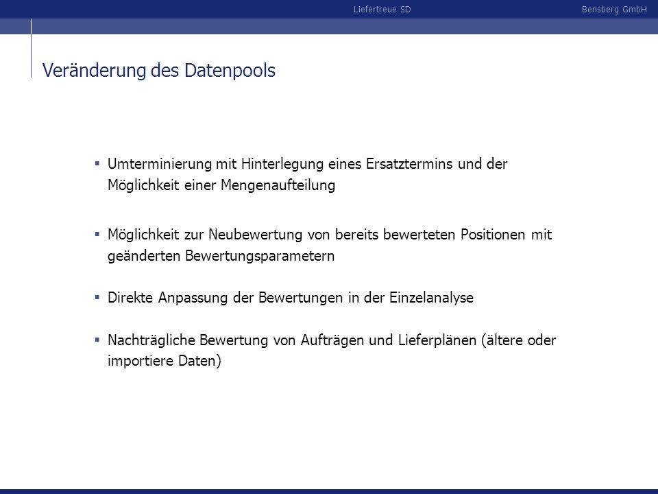 Bensberg GmbHLiefertreue SD Veränderung des Datenpools Umterminierung mit Hinterlegung eines Ersatztermins und der Möglichkeit einer Mengenaufteilung