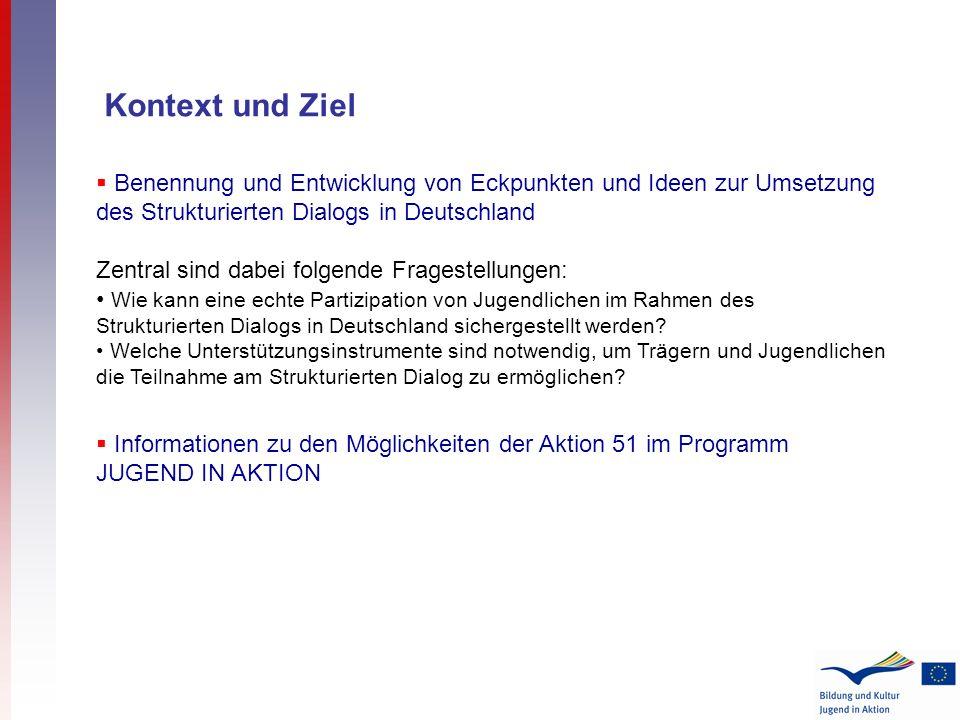 Kontext und Ziel Benennung und Entwicklung von Eckpunkten und Ideen zur Umsetzung des Strukturierten Dialogs in Deutschland Zentral sind dabei folgende Fragestellungen: Wie kann eine echte Partizipation von Jugendlichen im Rahmen des Strukturierten Dialogs in Deutschland sichergestellt werden.