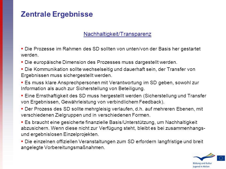 Zentrale Ergebnisse Nachhaltigkeit/Transparenz Die Prozesse im Rahmen des SD sollten von unten/von der Basis her gestartet werden. Die europäische Dim