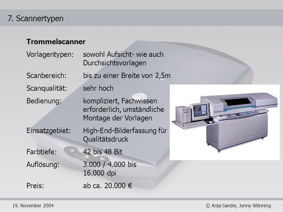 © Anja Sander, Jenny Wünning19. November 2004 7. Scannertypen Trommelscanner Vorlagentypen: sowohl Aufsicht- wie auch Durchsichtsvorlagen Scanbereich: