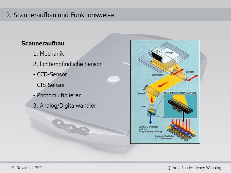 © Anja Sander, Jenny Wünning19. November 2004 2. Scanneraufbau und Funktionsweise Scanneraufbau 1. Mechanik 2. lichtempfindliche Sensor - CCD-Sensor -