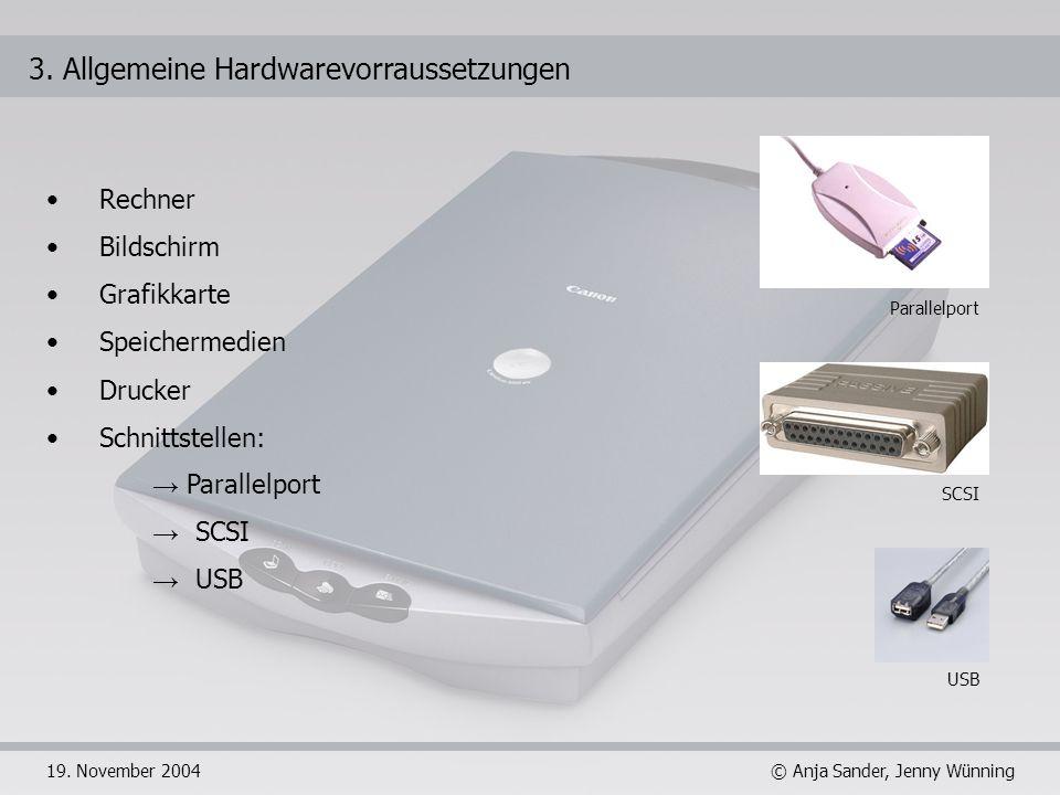 © Anja Sander, Jenny Wünning19. November 2004 3. Allgemeine Hardwarevorraussetzungen Rechner Bildschirm Grafikkarte Speichermedien Drucker Schnittstel