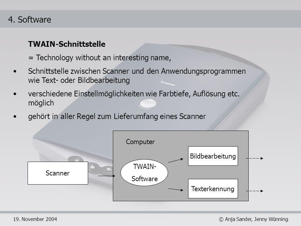 © Anja Sander, Jenny Wünning19. November 2004 Scanner Bildbearbeitung Texterkennung TWAIN- Software Computer 4. Software TWAIN-Schnittstelle = Technol