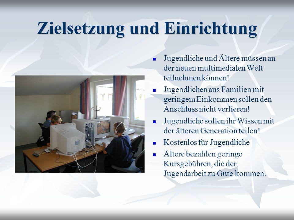 Zielsetzung und Einrichtung Jugendliche und Ältere müssen an der neuen multimedialen Welt teilnehmen können! Jugendliche und Ältere müssen an der neue