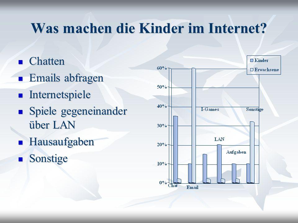 Was machen die Kinder im Internet? Chatten Chatten Emails abfragen Emails abfragen Internetspiele Internetspiele Spiele gegeneinander über LAN Spiele