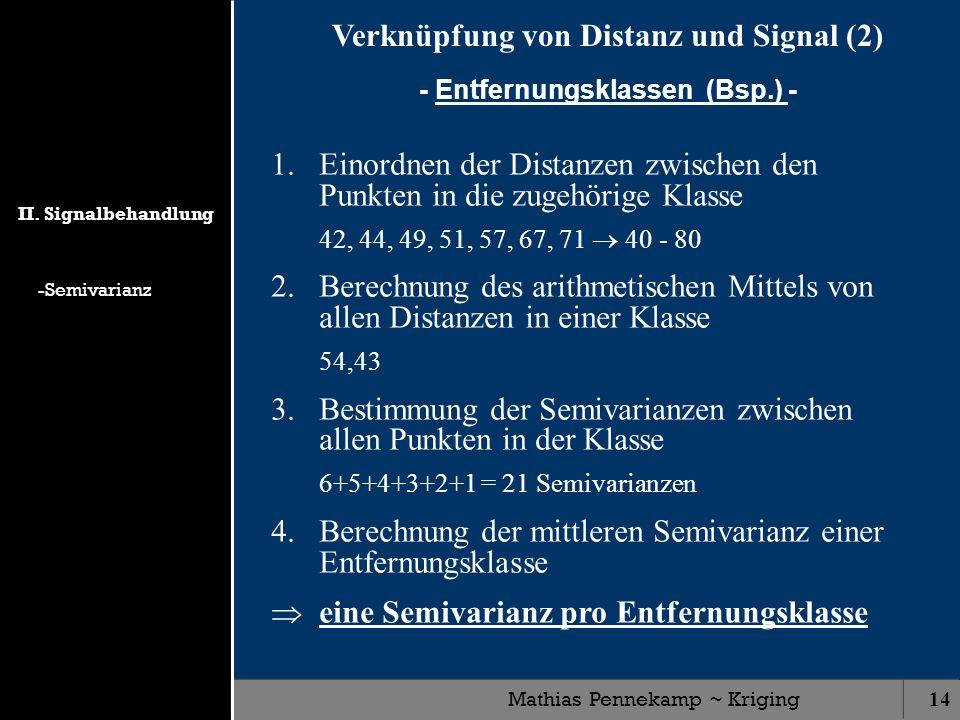 Mathias Pennekamp ~ Kriging14 Verknüpfung von Distanz und Signal (2) - Entfernungsklassen (Bsp.) - 1.Einordnen der Distanzen zwischen den Punkten in d