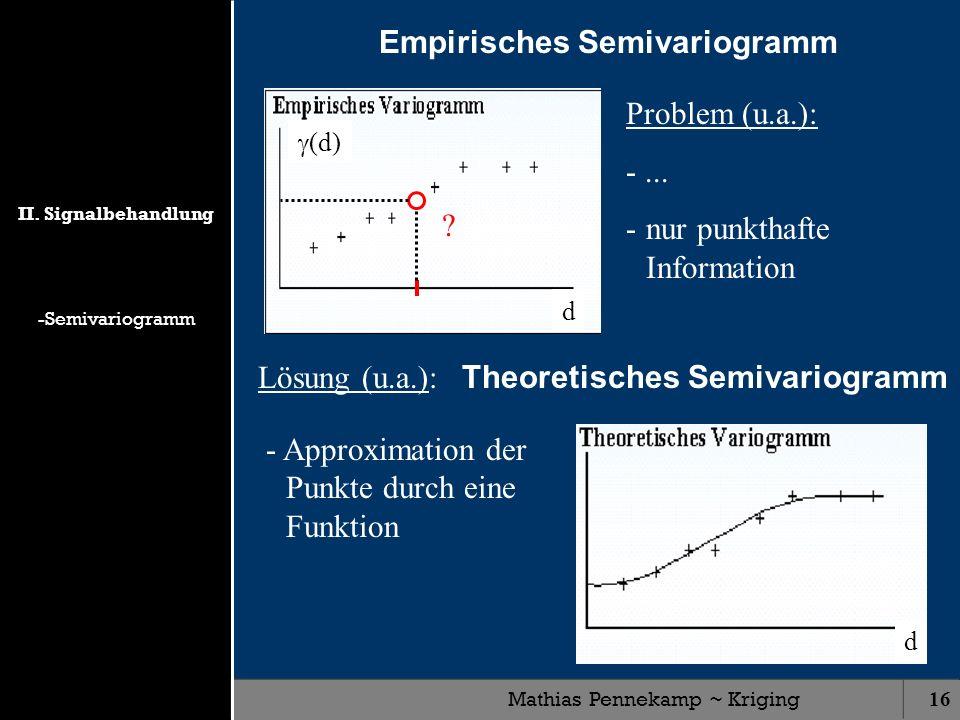 Mathias Pennekamp ~ Kriging16 Empirisches Semivariogramm d (d) Problem (u.a.): -... -nur punkthafte Information ? Lösung (u.a.): Theoretisches Semivar