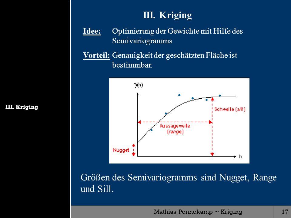 Mathias Pennekamp ~ Kriging17 III. Kriging Idee: Optimierung der Gewichte mit Hilfe des Semivariogramms Vorteil:Genauigkeit der geschätzten Fläche ist