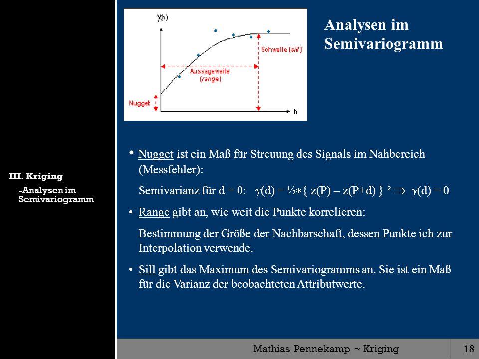 Mathias Pennekamp ~ Kriging18 Analysen im Semivariogramm Nugget ist ein Maß für Streuung des Signals im Nahbereich (Messfehler): Semivarianz für d = 0