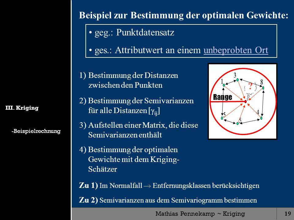 Mathias Pennekamp ~ Kriging19 ? Range Beispiel zur Bestimmung der optimalen Gewichte: geg.: Punktdatensatz ges.: Attributwert an einem unbeprobten Ort