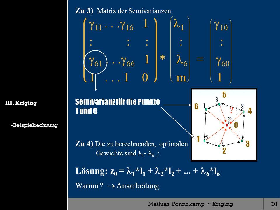 Mathias Pennekamp ~ Kriging20 11... 16 1 1 10 : :: : : 61... 66 1 * 6 = 60 1... 1 0 m 1 ? Semivarianz für die Punkte 1 und 6 1 6 2 3 4 5 0 Zu 4) Die z