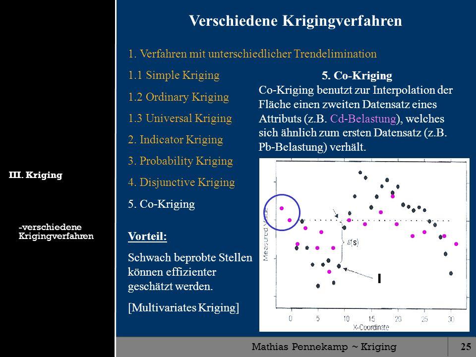 Mathias Pennekamp ~ Kriging25 1. Verfahren mit unterschiedlicher Trendelimination 1.1 Simple Kriging 1.2 Ordinary Kriging 1.3 Universal Kriging 2. Ind