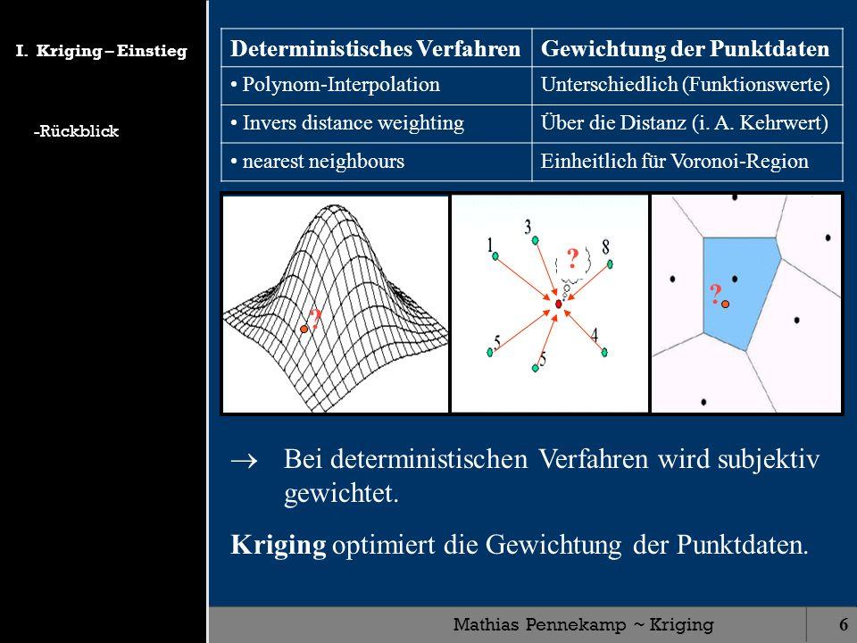 Mathias Pennekamp ~ Kriging6 Bei deterministischen Verfahren wird subjektiv gewichtet. Deterministisches VerfahrenGewichtung der Punktdaten Polynom-In